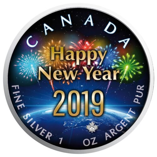 Maple Leaf - 1 Oz - New Year around the Globe Special Edition 2019